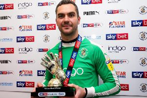Luton keeper James Shea with his Golden Glove trophy