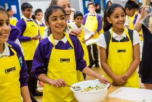 Pupils from Downside Primary School made vegetable samosas following a visit from Zanussi Cook School