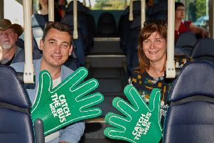 Gavin Shuker MP marks Catch the Bus Week with Linsey Frostick. Credit: CGF Photography.