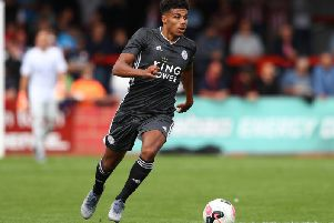 Former Hatter James Justin in action for Leicester
