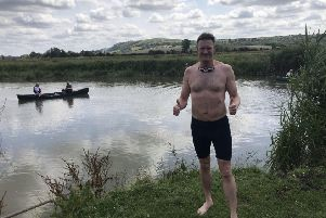 Mark Smith after swimming the River Adur