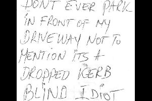 This abusive note was cropped by East of England Ambulance service due to its language