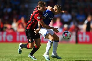 Jack Stacey in action on his Premier League debut for Bournemouth