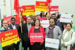 Cllr Hopkins (centre) at her campaign launch yesterday