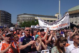 Luton Town fans protest against Capital & Regional back in May 2018