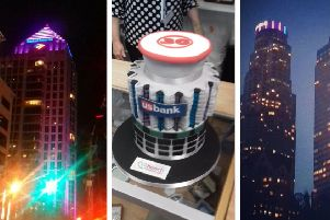 Bank of America Plaza skyscraper, the US Bank Tower cake, and the US Bank Tower.