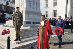 LBC chief executive Robin Porter (right) lays a wreath. Credit: LBC.
