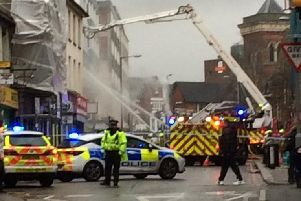 Beds Fire and Rescue Service uses the aerial platform to tackle the fire
