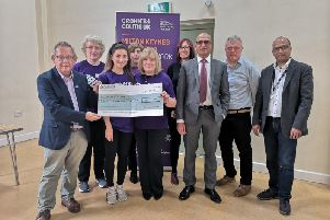 Members of the Luton branch of Foresters Friendly Society presented the cheque to Crohns and Colitis UK