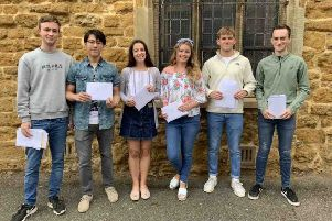 Students, from left, James McBain, Gavin Wu, Jessica Jex, Fleur Wilden, Ted Harper Smith and Tom Christie celebrate their success. EMN-190815-124032001