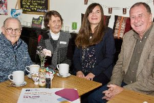 Pam Cox and Sue White from Age UK Lindsey with  Freemasons Peter Tasker, left,  and Dave Wheeler (right) .