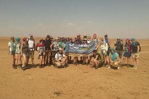We've done it! Sue and her fellow trekkers after completing their fundraising walk across the Sahara