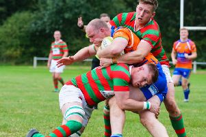 Tom Stephens, here in defensive mode, got Rasen's try account up and runningat Newark. Picture: Jon Staves EMN-191125-120717002