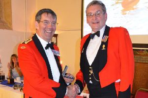 Ray Ogg, right, pictured in 2018 receiving his 5th bar to his Cadet Force Medal in recognition of 44 years service