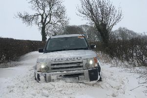 A photo which shows the huge drifts on the A607 near Croxton Kerrial, near Melton, which was taken by Phillip Payne of the Leicestershire and Rutland 4x4 Response team EMN-180503-144606001