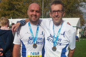 Alan Thompson (right) was first Vet45 runner home at the Leicester 5K Winter League EMN-181114-114145002