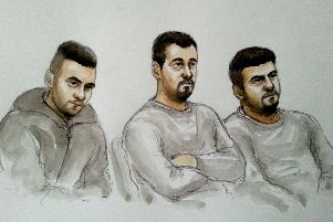 COURT SKETCH: Aram Kurd, 33, Arkan Ali, 37, and Hawkar Hassan, 32. Photo: SWNS
