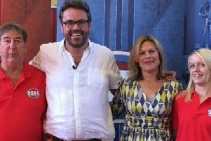 Melton dad and daughter, Rob and Katie Sherville, with experts Kate Bliss and Ben Cooper pictured when they appeared on BBC daytime TV show, Bargain Hunt EMN-190121-115328001
