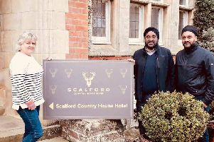 The Scalford Country House Hotel, from left, Amanda Burton, owner Gurnam Singh and his son Chaz Singh.