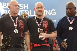 Jason Talbot (centre) wins his first British powerlifting title in 15 years EMN-190131-144201002