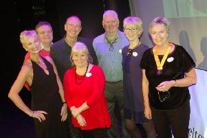 Jonathan and Emma Agnew pictured with members of Melton Aurora Rotary Club before Friday's fundraising show at Melton Theatre EMN-190227-103404001