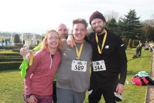 At the finish (left to right): Poppy Marriott, Lee Burrows, Daniel Hudson and Robbie Hesketh PHOTO: Supplied