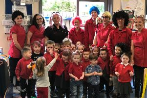 The children and staff at both Early Years Nursery settings celebrated Red Nose Day with a funny hair day. They raised over �50. Pictured above is Early Years Nursery (Swallowdale) PHOTO: Supplied
