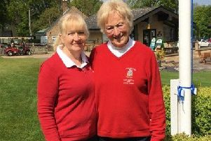 Norma Varley and Jane White after their narrow win in round three of the Daily Mail Foursomes EMN-190521-093155002