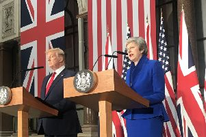 Presidents Donald Trump and Prime Minister Theresa May hold a press conference this week during the State Visit - the photo was taken by Rutland and Melton MP Sir Alan Duncan EMN-190506-151425001
