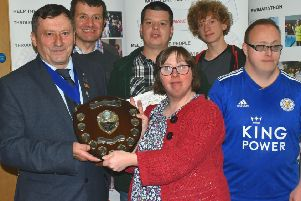 The Melton Times Shield for the most sponsorship raised was won by Melton Mencap Marvels, and presented by Lion Geoff Tate PHOTO: Tim Williams