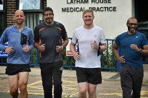 Dr Matt Riley (second from right) with fellow Latham House Medical Practice doctors Paul Atkinson, Gangadhar Dabli and Smile Paliath, who will be helping run the Melton Parkrun for one day only EMN-190207-162441001