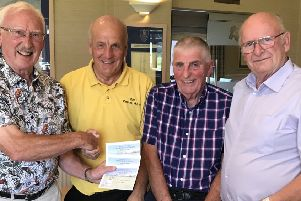 From left - seniors captain Cliff Mills and the winning team of Phil White, Phil Hewes and Ken Taylor EMN-190723-102248002