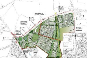 A map showing the proposed redevelopment of farmland to the north of Melton, between Nottingham Road and Scalford Road, to provide up to 690 new homes and a new primary school EMN-190608-104519001
