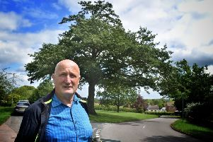 Councillor Joe Orson, borough council representative for Old Dalby, next to the village's iconic oak tree on The Green, which was under threat of being chopped down  because it is in danger of falling due to decay EMN-191208-112657001