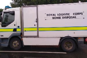 This army bomb disposal truck was spotted outside Melton Police Station after marine flares were handed in for disposal today EMN-190814-130551001