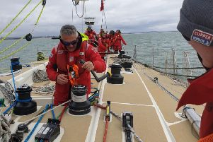 Redmile villager Andy Harrhy pictured training on a yacht before taking part in the Clipper Round the World Yacht Race EMN-190409-163452001