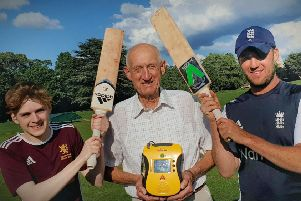 Egerton Park CC chairman Geoff Goodson with Alex Barber (left) and First XI skipper Charlie Madden EMN-191209-170828002