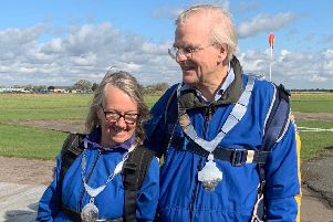 Melton Mayor, Malise Graham, and wife Pamela prepare for their parachute jump EMN-190924-122343001
