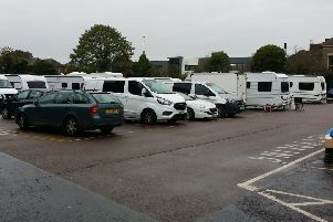 Travellers' caravans on the Wilton Road car park in Melton this week EMN-190810-124158001