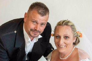 Kris and Claire Lowe pictured on their wedding day just three weeks before they lost their possessions in a house fire at their Melton home EMN-190810-091806001