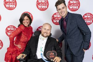 Matt Hampson with his award at The Sun's Who Cares Wins Health Awards with presenters Curtis Pritchard and Deborah James EMN-191110-095931001