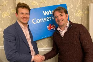 Leigh Higgins (right) pictured after being selected as the Conservative Party Prospective Parliamentary Candidate for Chesterfield, in Derbyshire EMN-191113-165657001