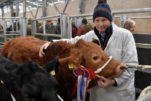 Jonathan Thompson, of Stainby House Farm, with his champion beast at this year's Melton Christmas Fatstock Show EMN-190412-120346001