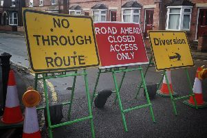 The road blocks signifying the closure of Mill Street this week to enable Cadent work teams to repair a gas leak EMN-190912-101152001