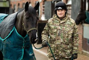 Corporal of The Horse Andrew Mancey exercising Animals as part of the Christmas duties within the Defence Animal Training Regiment in Melton Mowbray'Photographer:'Cpl Paul Watson  / MoD Crown EMN-191230-111542001