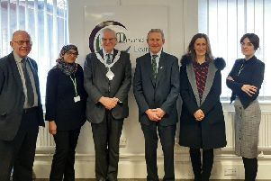 From left: Keith Aubrey, Aysha Rahman, the Mayor of Melton, Councillor Malise Graham, Leicestershire High Sheriff Tim Hercock, Sara Hercock and Laura Swift pictured during the Sherriff's visit to Me and My Learning EMN-200302-150937001