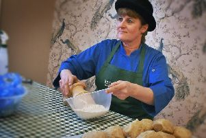 Clare O'Donnell demonstrates pie making.