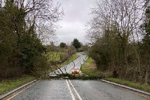 A fallen tree blocks the A607 at Croxton Kerrial as Storm Ciara rages on Sunday EMN-201002-120000001