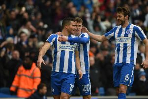 Tomer Hemed, Solly March and Dale Stephens celebrate a Albion goal this season. Picture by Phil Westlake (PW Sporting Photography)