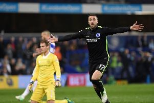 Glenn Murray wheels away after giving Brighton & Hove Albion the lead with his 21st goal of the season. Picture by Phil Westlake